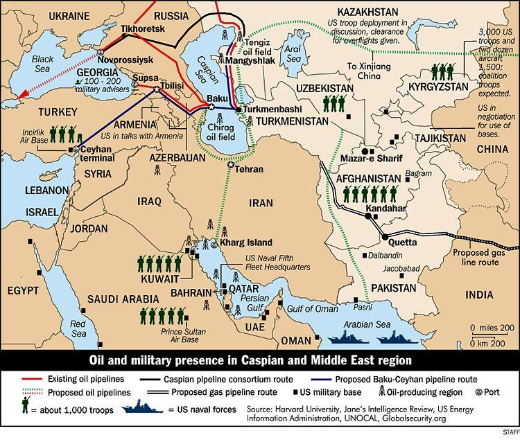 Resultado de imagem para pictures of map oil and military presence in Caspian and Middle East region